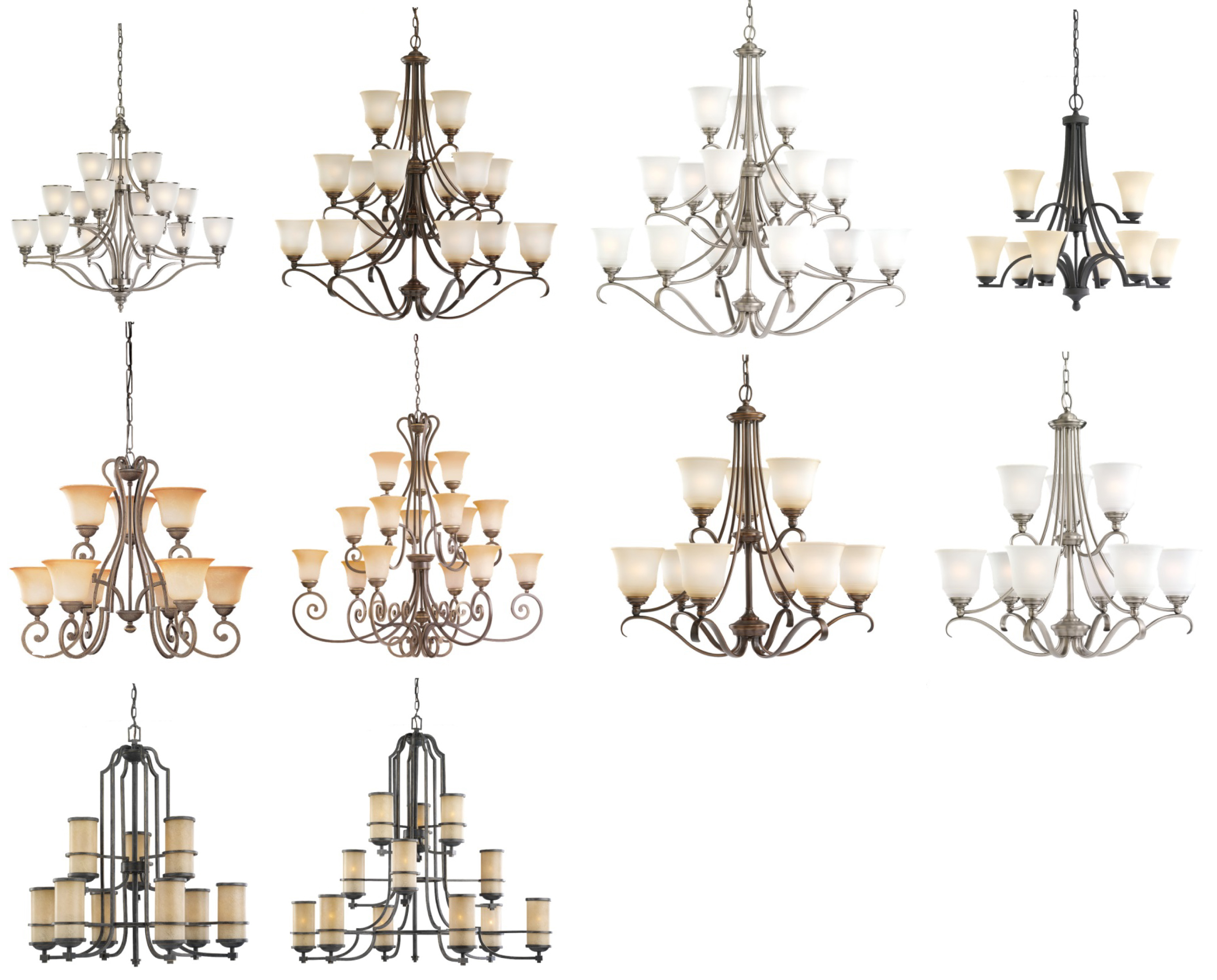 10 versions of recalled seagull chandeliers please see chart in recall for full images of