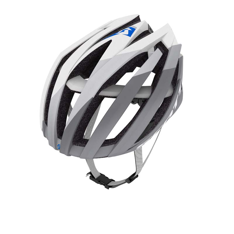 White and grey bicycle helmet