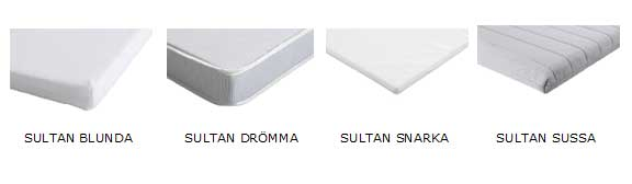 Four models of IKEA SULTAN crib mattress