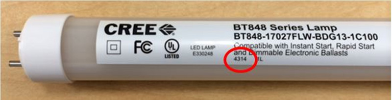 Date Code:  Consumer LED T8 Lamp