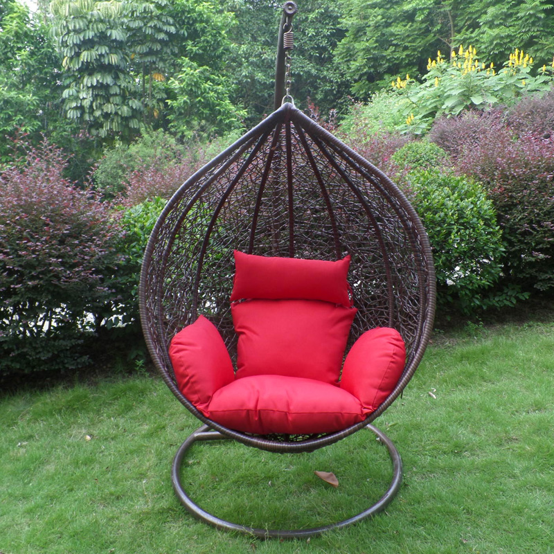 Brown teardrop-shaped swing chair