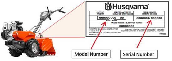 Label on tiller with brand name, model number and serial number