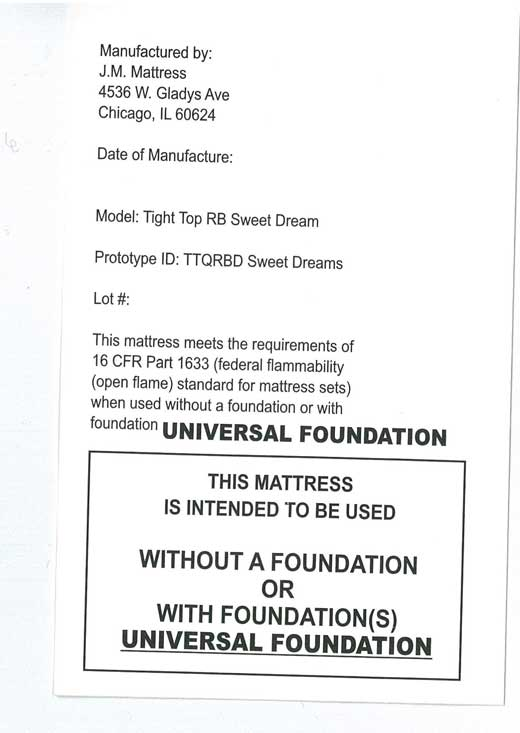Federal Tag on recalled mattress
