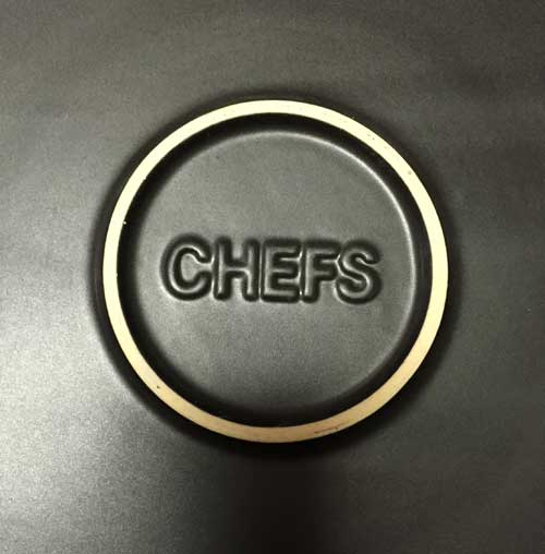 The CHEFS logo is at the center of the rimmed base.