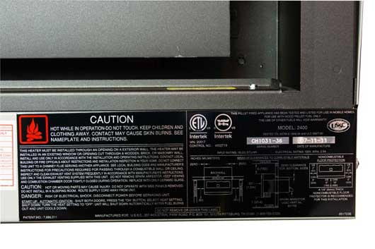 Label on HomComfort 2400 24K BTU Pellet Heater/Stove