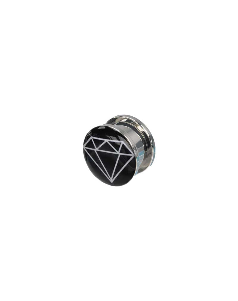 SalesOne Light Up Ear Plug with Diamond Logo (Black/White)