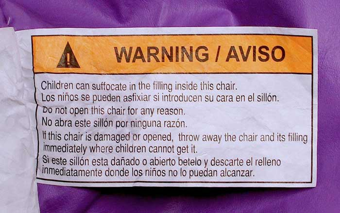 Warning label on the bean bag chairs