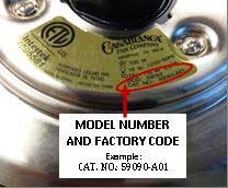 Casablanca fan model number and factory code label