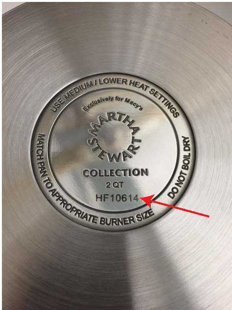 Date code inscribed on bottom of frying pan