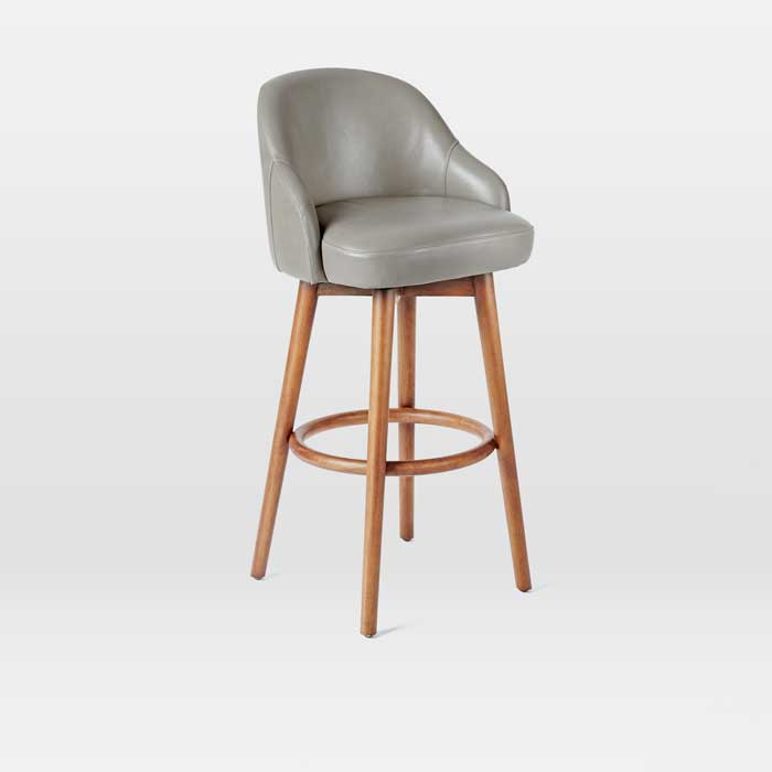 Saddle Counter Stool with Elephant Leather