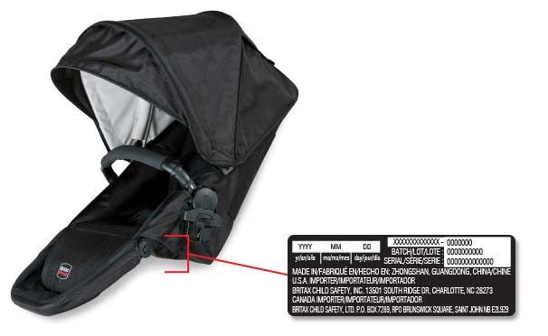 Asiento superior de remplazo para el coche para bebé Britax con la ubicación de la etiqueta con la fecha de fabricación