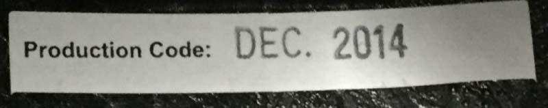 """Production Code: Dec. 2014"" is printed on a sticker that can be found by lifting the lining above the right earpiece."