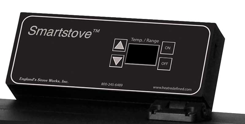 The Smartstove logo appears on the pellet stove's control panel.