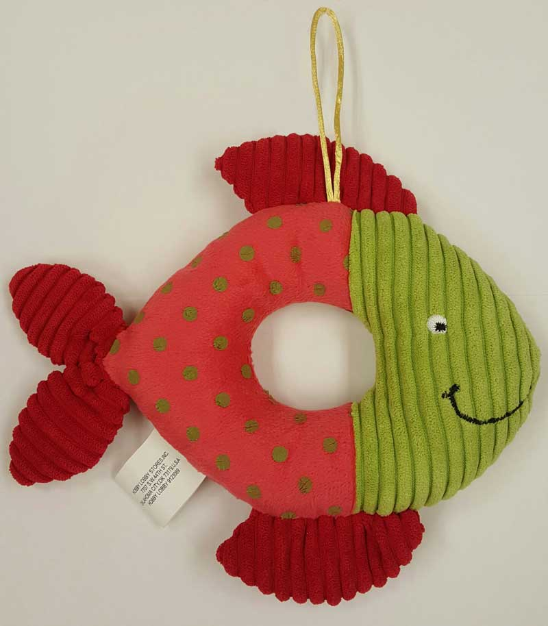 Little Wishes Chenille Stuffed Rattles -- Pink & Green Fish