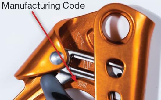 Location of manufacturing code on Index Ascenders