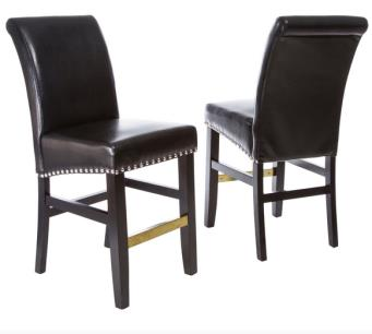 Louigi Black Leather Counter Stool