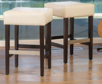 Tate Backless Leather Counter Stool – White