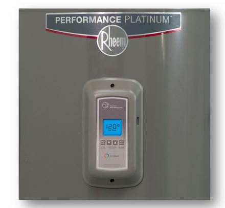 The Performance Platinum Rheem logo decal is on the front above the thermostat control panel.