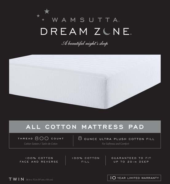 Wamsutta Dream Zone cotton 800 thread count mattress pads
