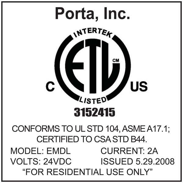 Label affixed to the bottom of the EMDL cover