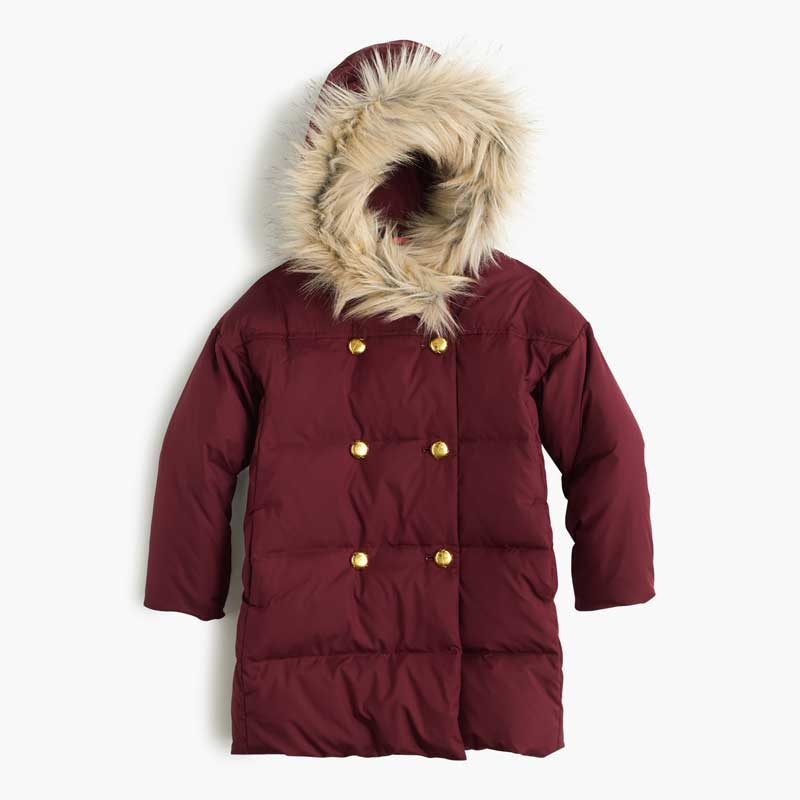 J. Crew Girls Puffer Coat in dark wine (maroon)