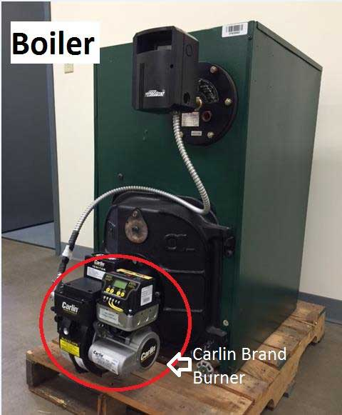 Carlin Brand Burner on Boiler