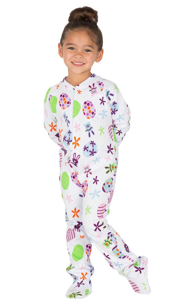 27de4afae688 Solid and Patterned Easter Egg Children s Footed Pajamas