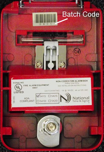 National Time & Signal fire alarm pull station batch code location