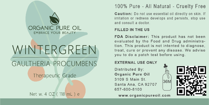 Recalled Organic Pure Oil Wintergreen Essential Oil label