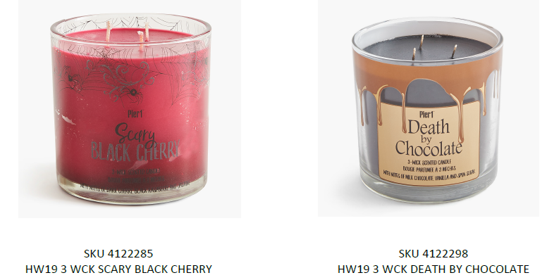 Recalled Pier 1 Imports Three-Wick candles with respective SKU numbers