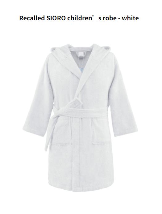 Recalled SIORO children's robe – white