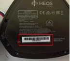 HEOS, the model and serial numbers are located on bottom of base