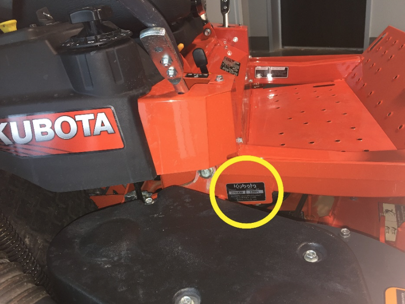 Recalled Kubota Z400 serial number tag location