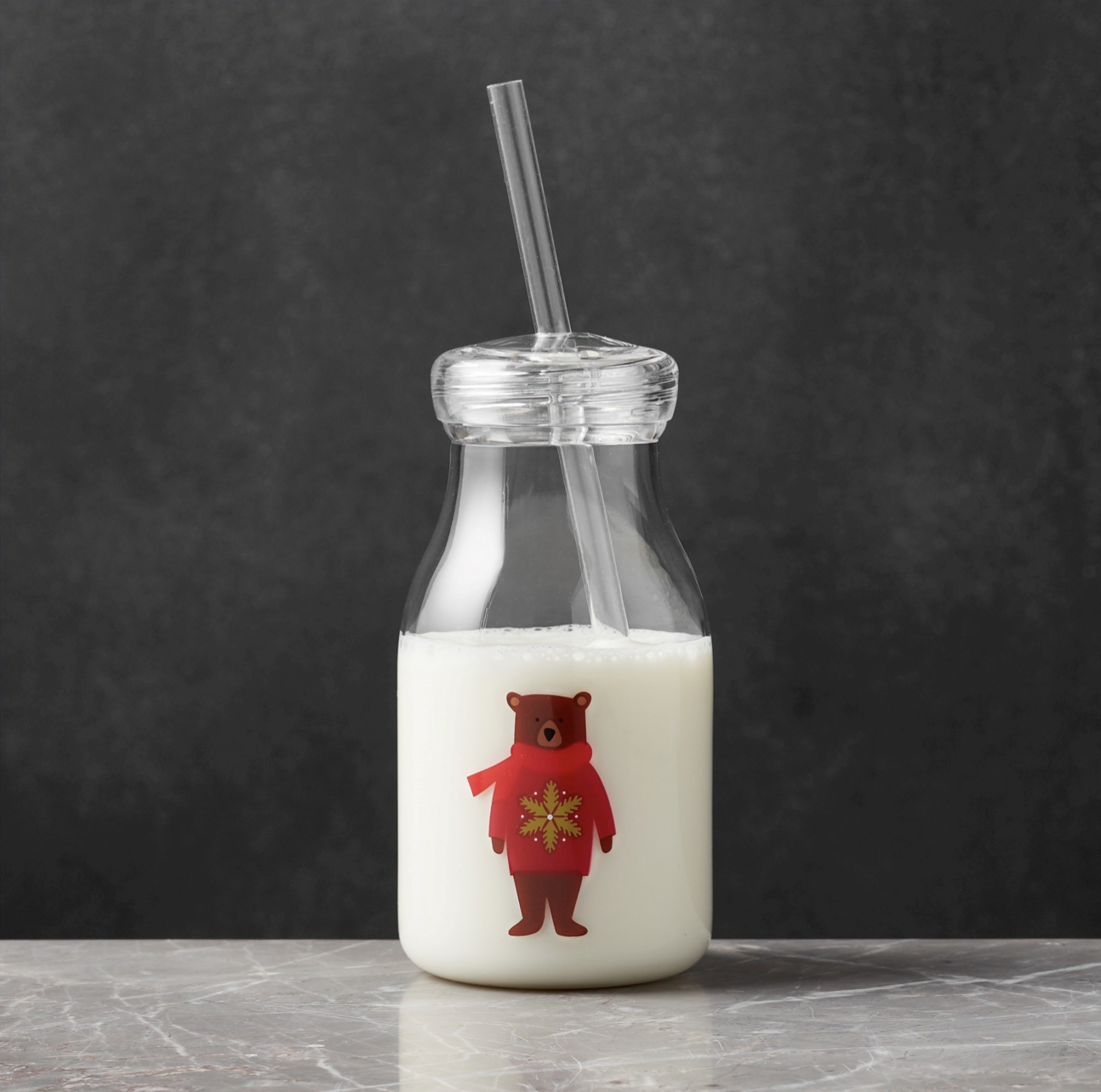 Crate and Barrel Holiday Bear Acrylic Milk Bottle with Milk