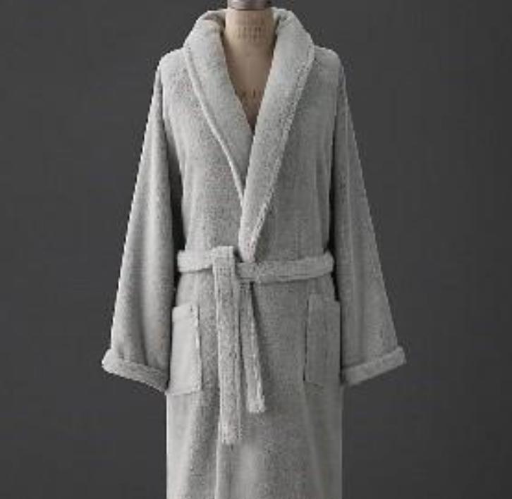 RH recalled robe in light gray