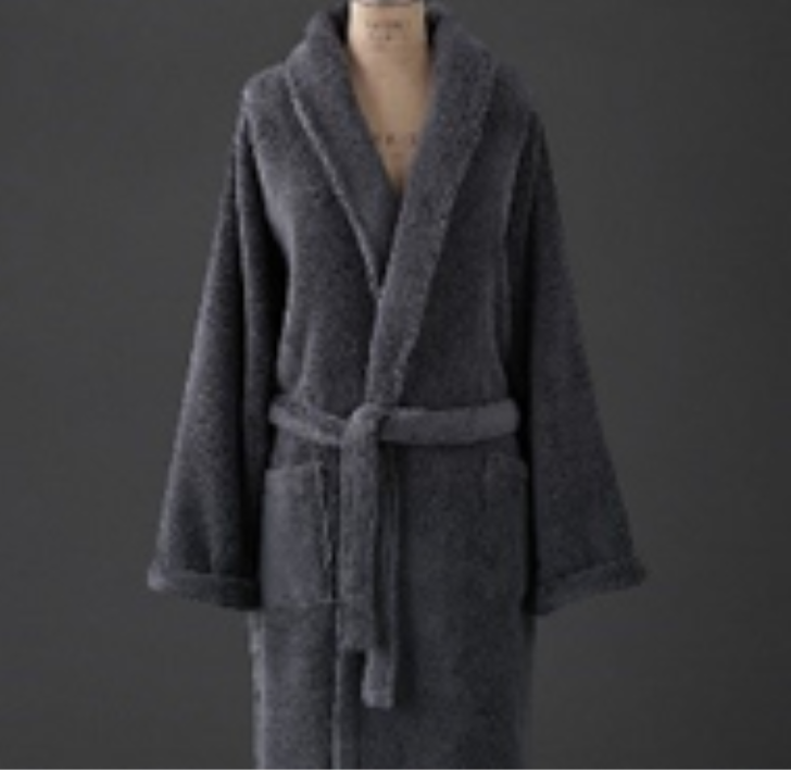 RH recalled robe in dark gray