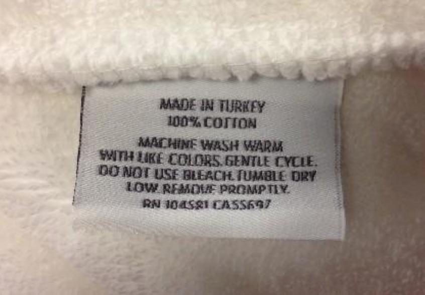 RH recalled robe label