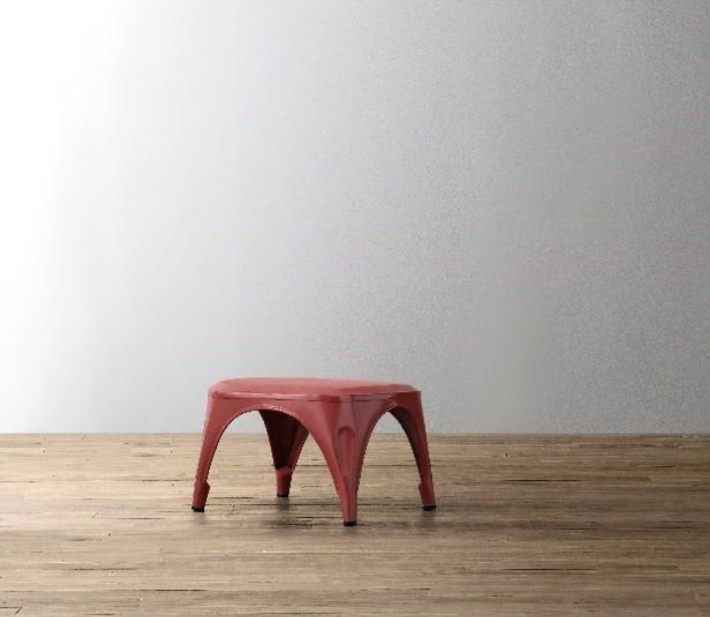 Vintage Steel Step Stool in Distressed Red