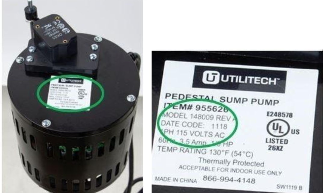 Recalled Utilitech sump pump and manufacture label