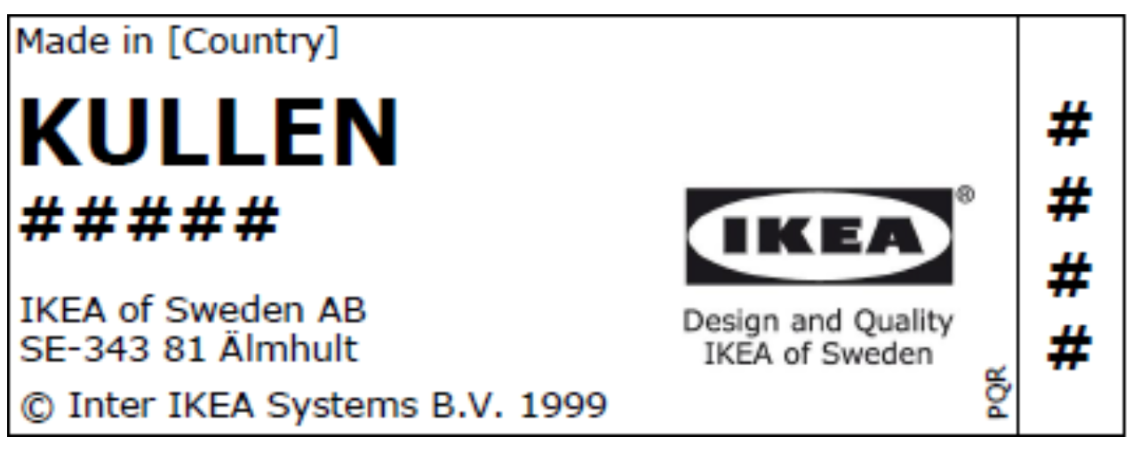 Label on recalled IKEA KULLEN 3-drawer chest