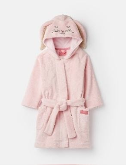 204653-PINKBUNNY Pink robe with bunny ears  100% polyester XS, S, M, L