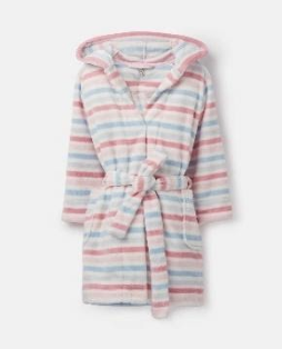 205706-MULTSTRIP White robe with pink and blue stripes  100% polyester XS, S, M, L