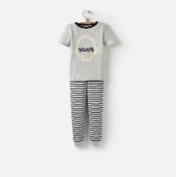 Y_ODRKIPWELL-GRYMARL Gray short sleeved pajama  97% cotton 3% elastane 1 through 12