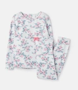 204649-BLUCREMDTS White pajama with floral print  96% cotton 4% elastane 1 through 12