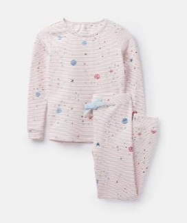 204649-PNKGALAXY Pink striped pajama with planet print  96% cotton 4% elastane 1 through 12