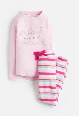 Z_ODRSLEPWL-PAWESME Pink pajama with slogan  97% cotton 3% elastane 1 through 12
