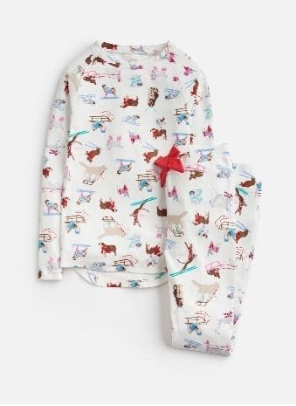 Z_ODRSLEPWL-SKIIDOG White pajama with skiing dog print  97% cotton 3% elastane 1 through 12