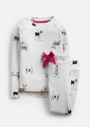 Z_ODRSLEPWL-WHTXMASDOG White pajama with Christmas dog print  97% cotton 3% elastane 1 through 12