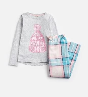 Z_ODRMINSNZ-PINKCHECK Pink and blue checked pajama  100% cotton 1 through 12