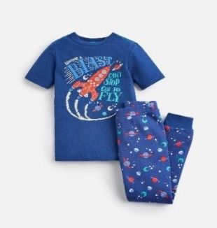 205153-BLUBLSTOFF Blue pajama with rocket print  97% cotton 3% elastane 1 through 12